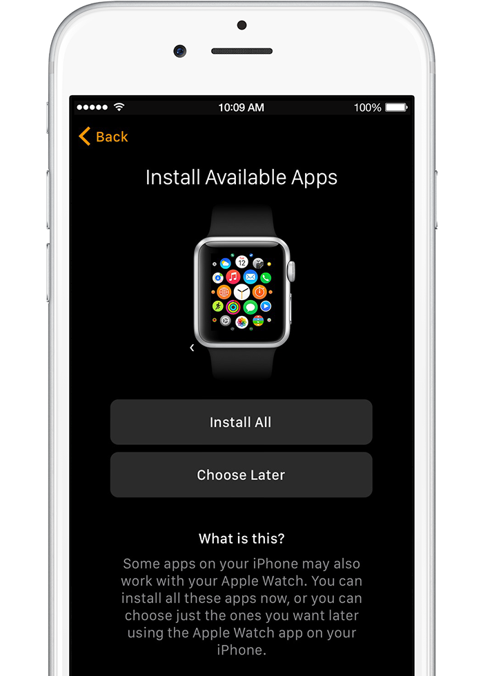 Install All iPhone apps to your Apple Watch or Choose Later to install manually