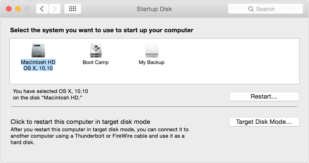 OS X Yosemite System Preferences Startup Disk Mac screenshot 001