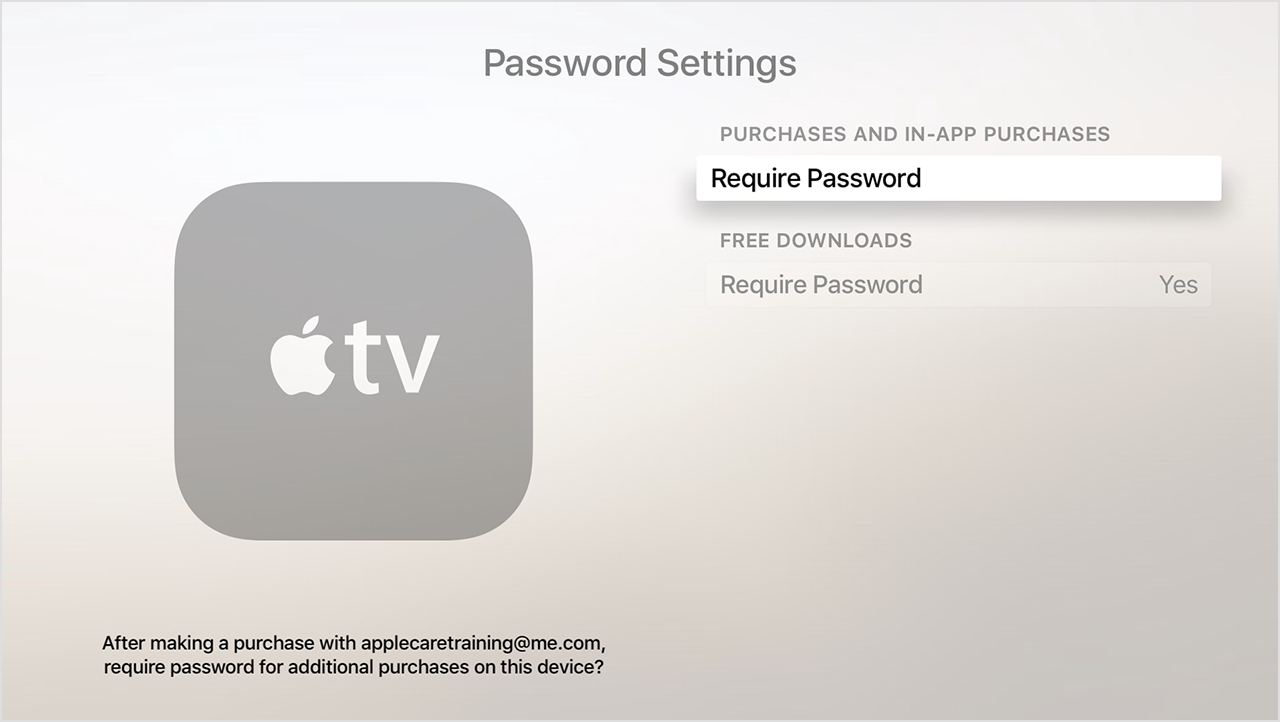 Apple TV fourth generation password settings screenshot 001