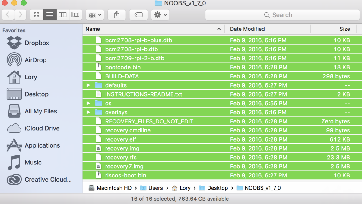 Dragging NOOBS files to SD card