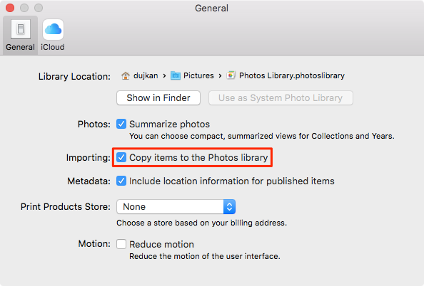 OS X El Capitan Photos Preferences Managed library Mac screenshot 001