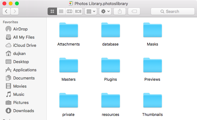 OS X El Capitan Photos library in Finder Mac screenshot 003
