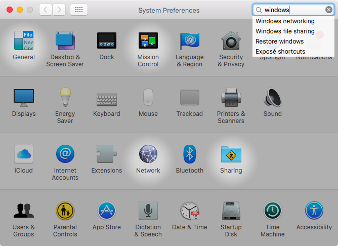OS X El Capitan System Preferences search Mac sceenshot 003