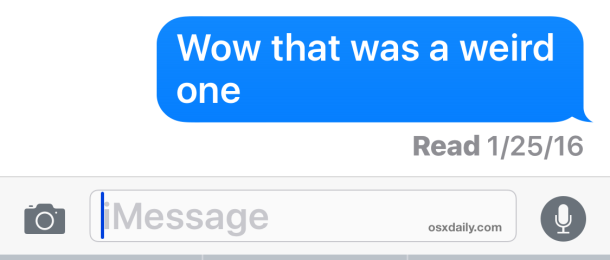 A read receipt in Messages for iOS