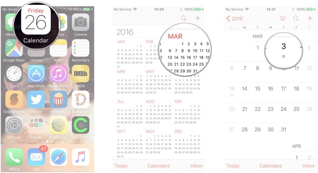 Launch Calendar, tap the month, tap the day