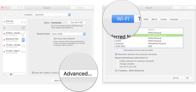 Advanced Wi-Fi settings on Mac