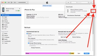 Click to stop the download of iOS in iTunes