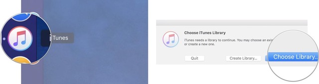 Launch iTunes, then click Choose Library