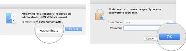 Enter administrative password to allow the move