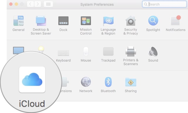 Click on iCloud