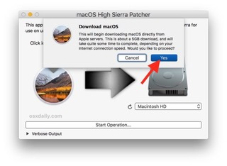 Confirm to download full macOS High Sierra installer