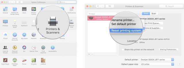 Click on Printers and Scanners, then right or control-click on your printer