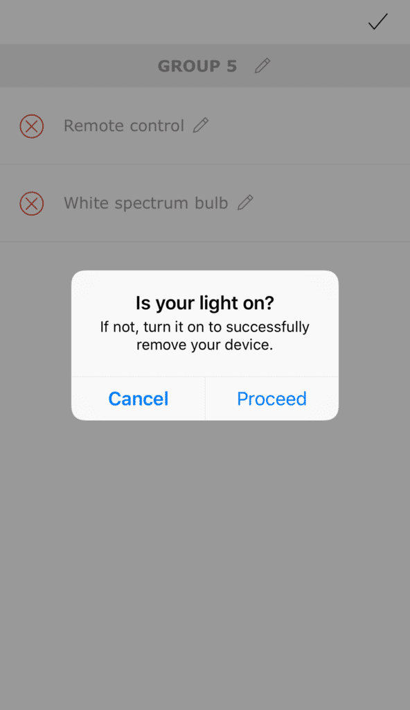 Remove bulb from app
