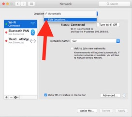 Create a new location in Network preferences
