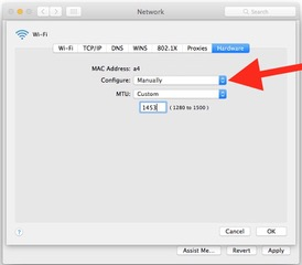 Choosing custom MTU settings in network preferences