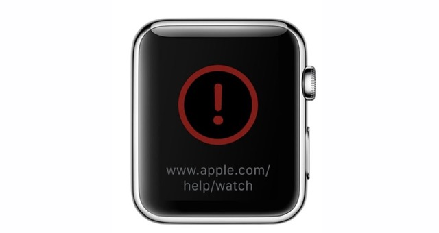red exclamation Apple Watch